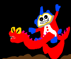 Teddy skeleton rides red dragon over mud