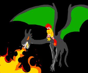 Clown riding a dragon