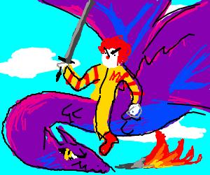 Ronald McDonald riding a dragon