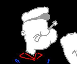 Popeye with no eyes.