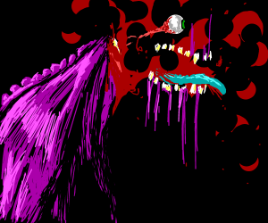 Giant monster covered in blood