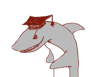 A shark wearing a graduation cap.