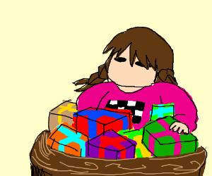 Madotsuki recieved too many BDay gifts.