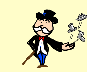 Monopoly Man throws game pieces