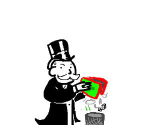 Monopoly man throws away the game pieces