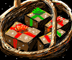 A basket of presents for Christmas