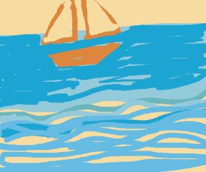 Sailboat sailing.