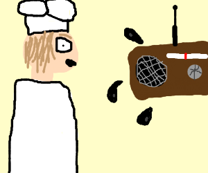 Chef seeing a radio spew out ink.