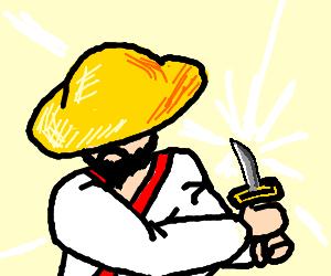 A samurai with an inexplicably small katana