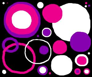 Purple-pink-white circle on black background