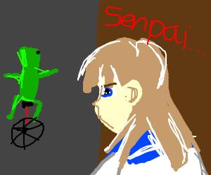 Crazy anime schoolgirl notices senpai
