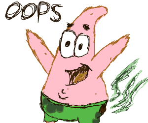 patrick with a brown stain on his shorts