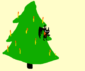 Jack Noir is hung on a tree.