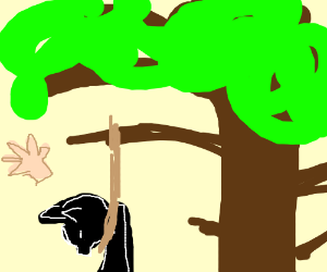 Cat girl being hung, hand in the backround