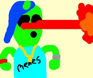 alien kid shoots laser from eyes