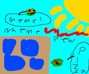 lazer-eyes meme boy is attacking the frame