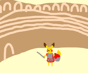 Pikacho in Roman Colleseum
