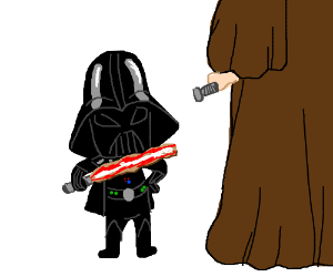 Kid Darth Vader is ready to fight!