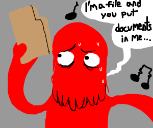 Red mop guy sings about files.