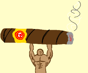 Super buff man holds the largest cigar ever
