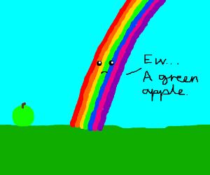 Rainbows dislike green apples
