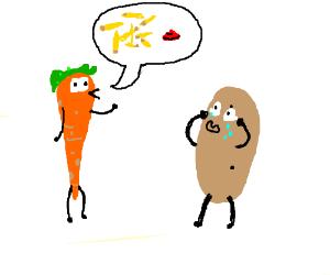 Carrot shows potato his future: becoming fries
