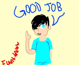 "Man saying ""Good Job"""