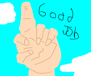 Dude says good job, points upwards.