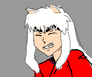 Inuyasha winces in pain