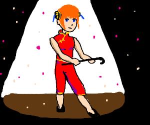 Anime girl dances in cherry petals