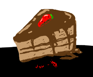 Ant sees huge piece of chocolate cake