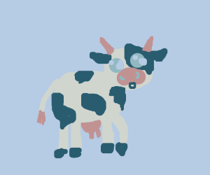 surprised anime-style cow