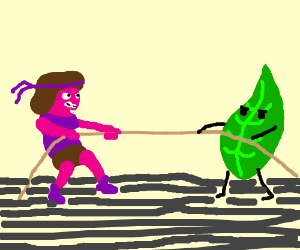 Ruby and Leafy playing tug of war :3