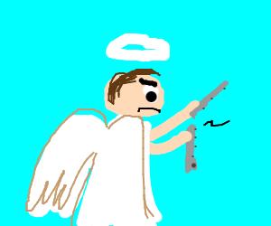 An angel breaks a flute in half.