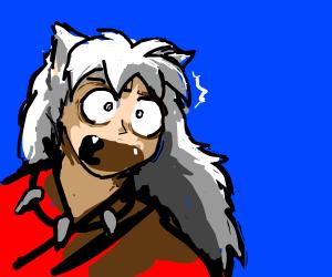Inuyasha amazed at something offscreen.