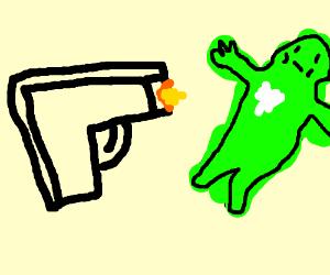 Shooting a frog