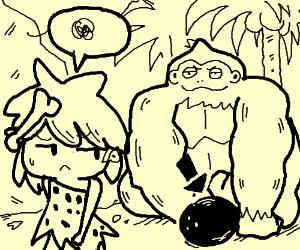 Cavegirl abandons coconut for gorilla