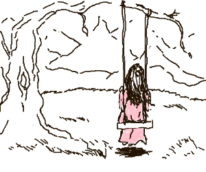 little pink girl swinging on swing