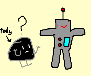 Toby the Black Rock is confused about robots