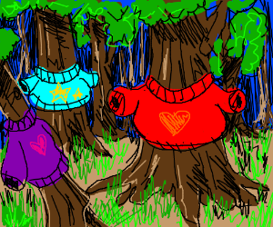 Forest wearing sweaters