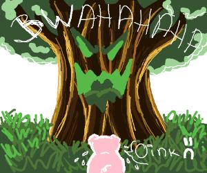 Tree laughs at sad pig