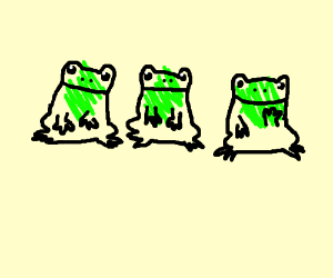 3 not fully colored frogs