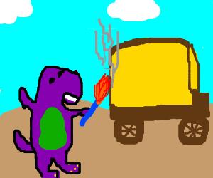 dinosaur burns yellow carriage w blue torch