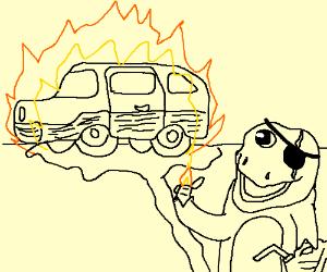Barney lights a station wagon on fire