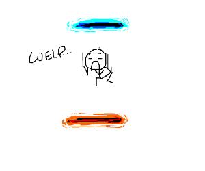 Stuck in an endless portal loop. ''Welp...''