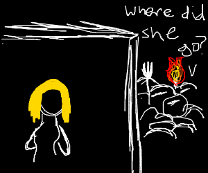 Blonde girl hides behind wall from dark mob