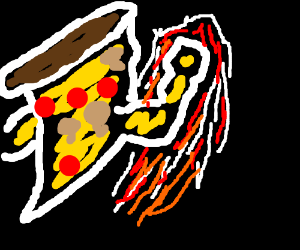 Pizza slice punching furiously