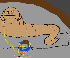 Jabba the Hutt and slave Drawception D