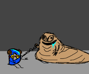 Drawception as Sexy Leah;Jabba holding her/it