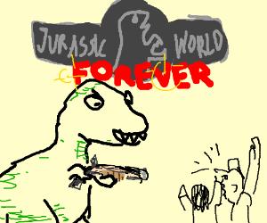 T-rex with a shotgun